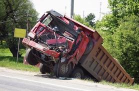 Truck crashed on roadside